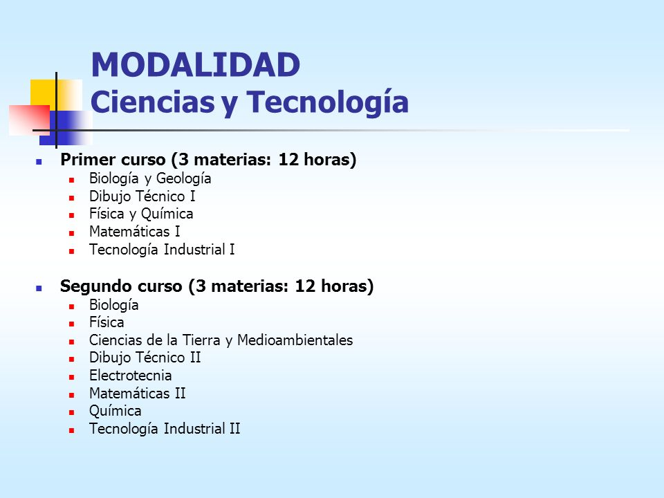 MODALIDAD Ciencias y Tecnología