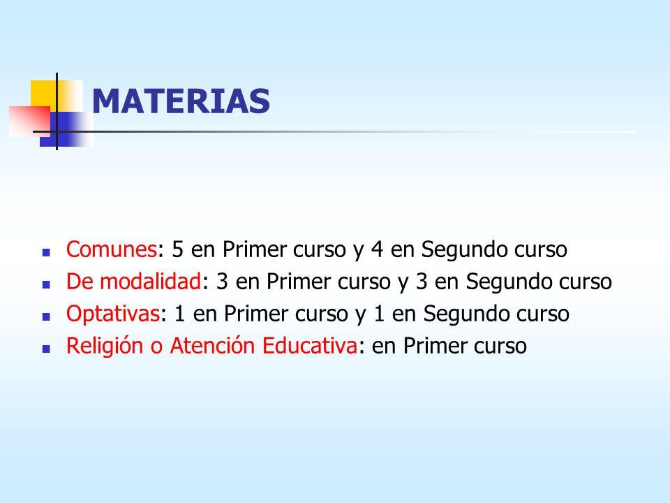 MATERIAS Comunes: 5 en Primer curso y 4 en Segundo curso