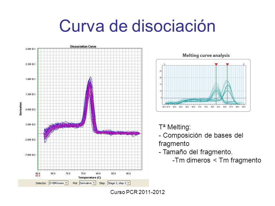 Curva de disociación Tª Melting: Composición de bases del fragmento
