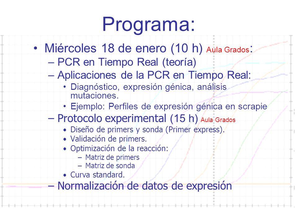 Programa: Miércoles 18 de enero (10 h) Aula Grados: