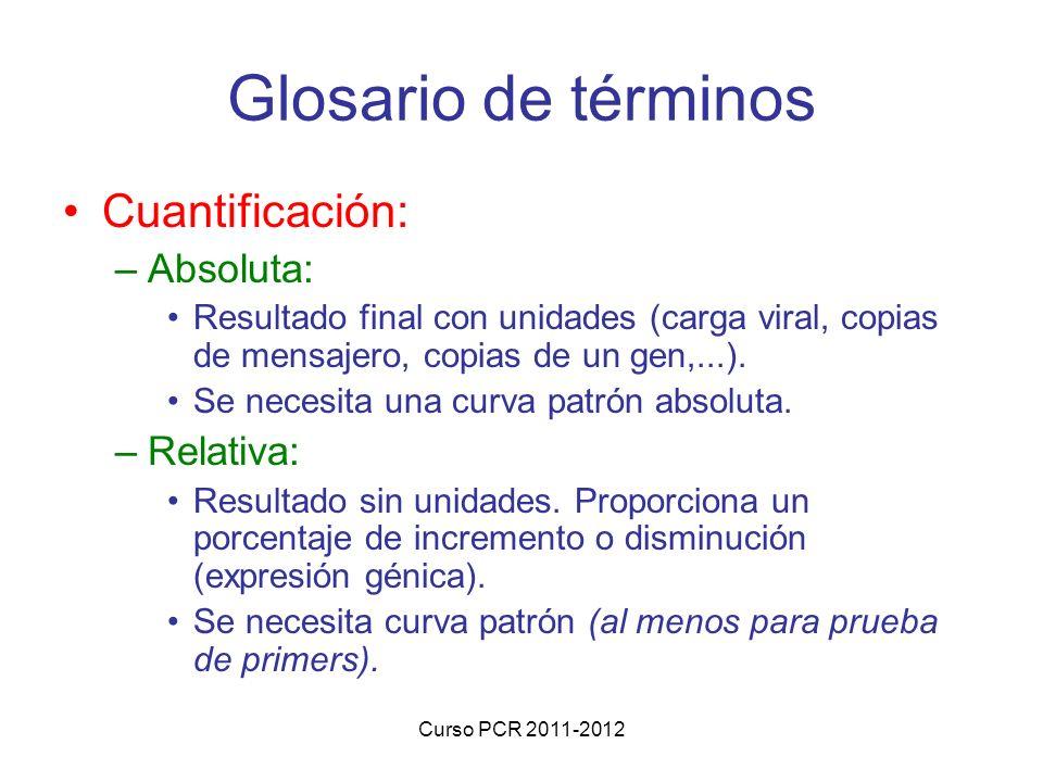 Glosario de términos Cuantificación: Absoluta: Relativa: