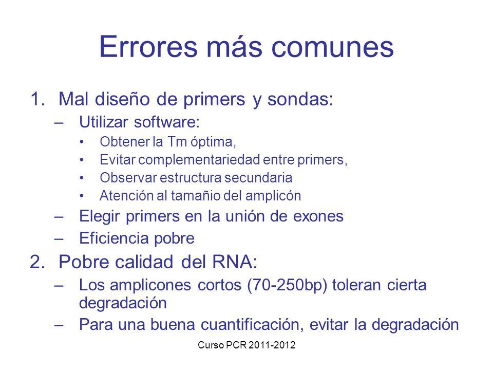 Errores más comunes Mal diseño de primers y sondas:
