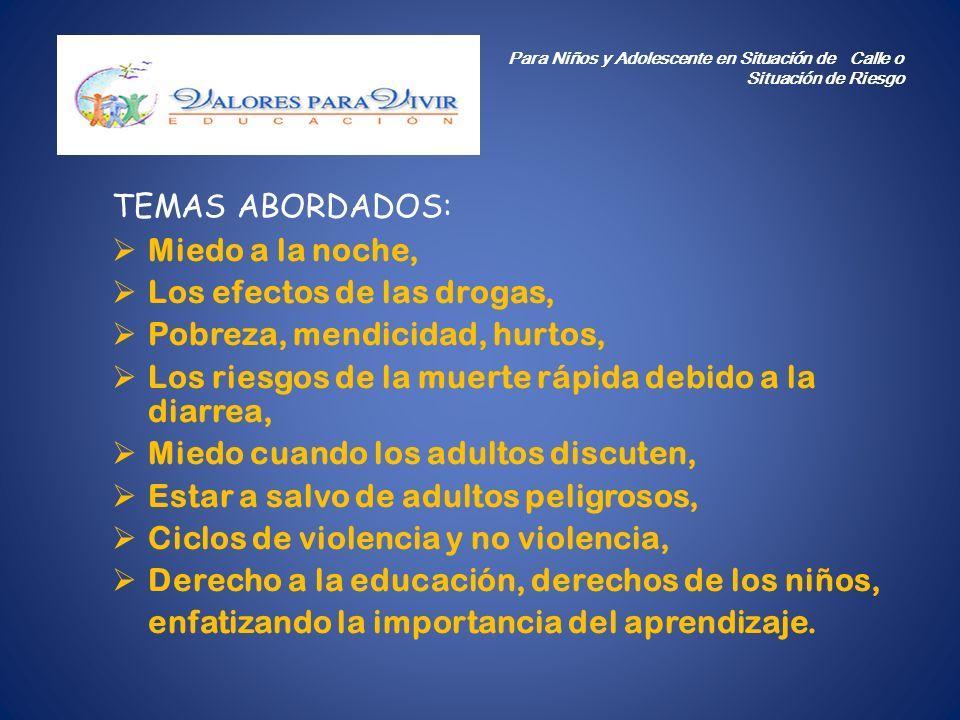 Los efectos de las drogas, Pobreza, mendicidad, hurtos,