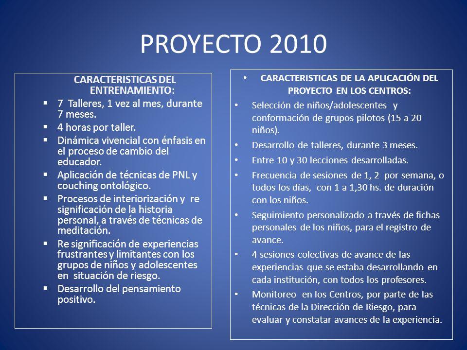 PROYECTO 2010 CARACTERISTICAS DEL ENTRENAMIENTO: