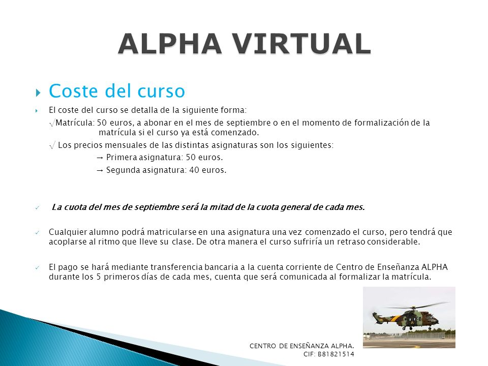 ALPHA VIRTUAL Coste del curso
