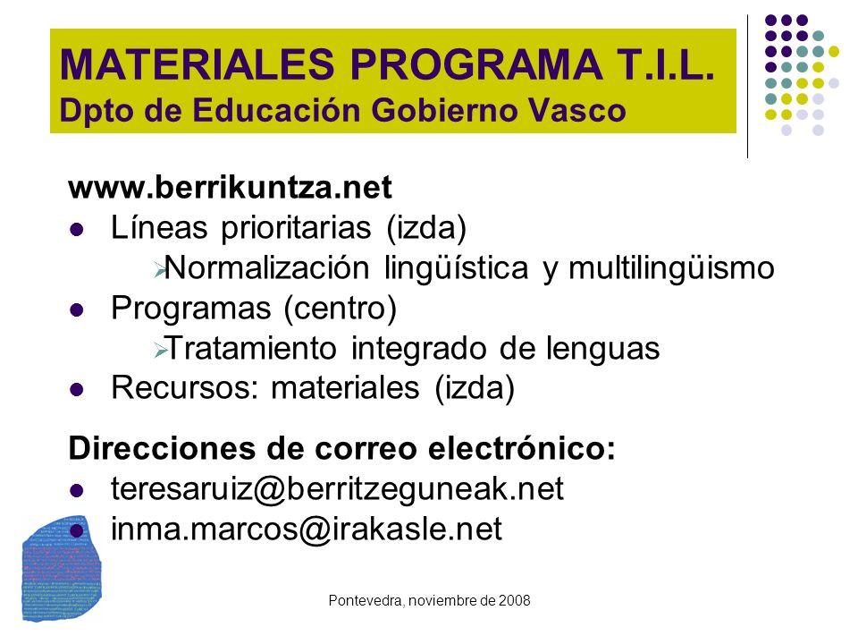 MATERIALES PROGRAMA T.I.L. Dpto de Educación Gobierno Vasco
