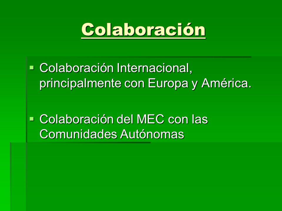 Colaboración Colaboración Internacional, principalmente con Europa y América.