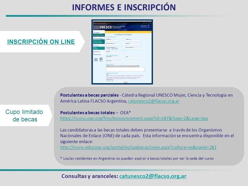 INFORMES E INSCRIPCIÓN Consultas y aranceles: catunesco2@flacso.org.ar