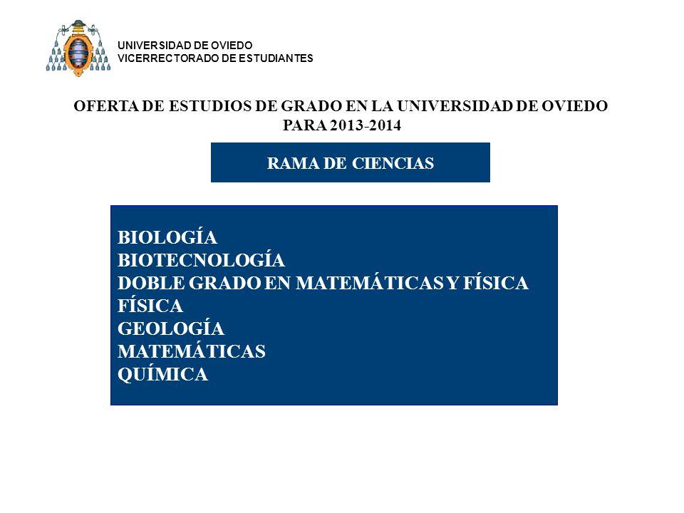 OFERTA DE ESTUDIOS DE GRADO EN LA UNIVERSIDAD DE OVIEDO