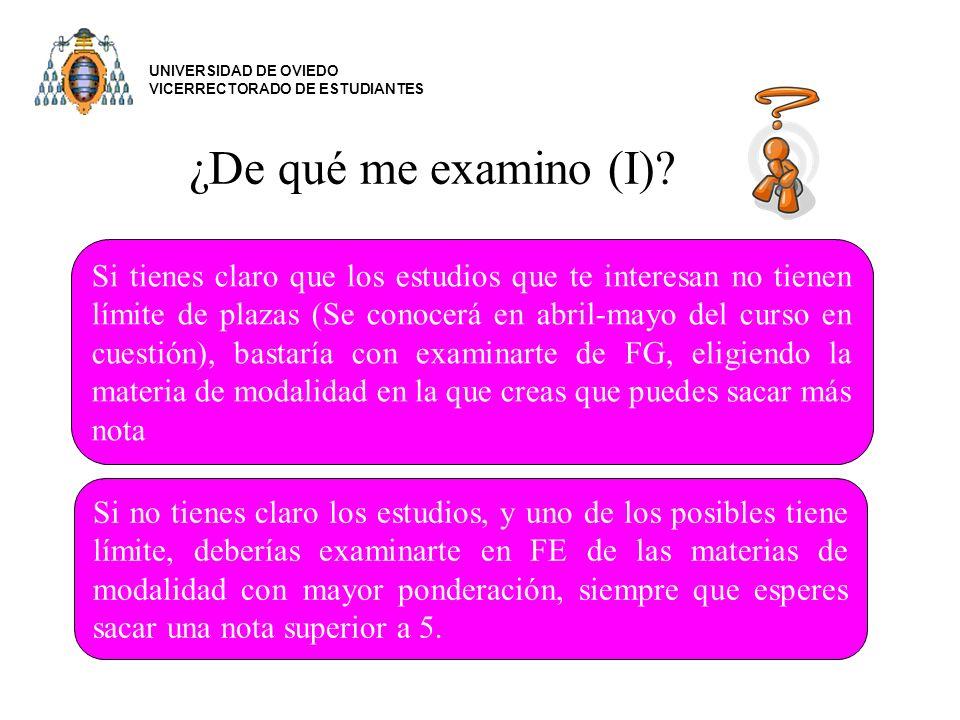 UNIVERSIDAD DE OVIEDO VICERRECTORADO DE ESTUDIANTES. ¿De qué me examino (I)