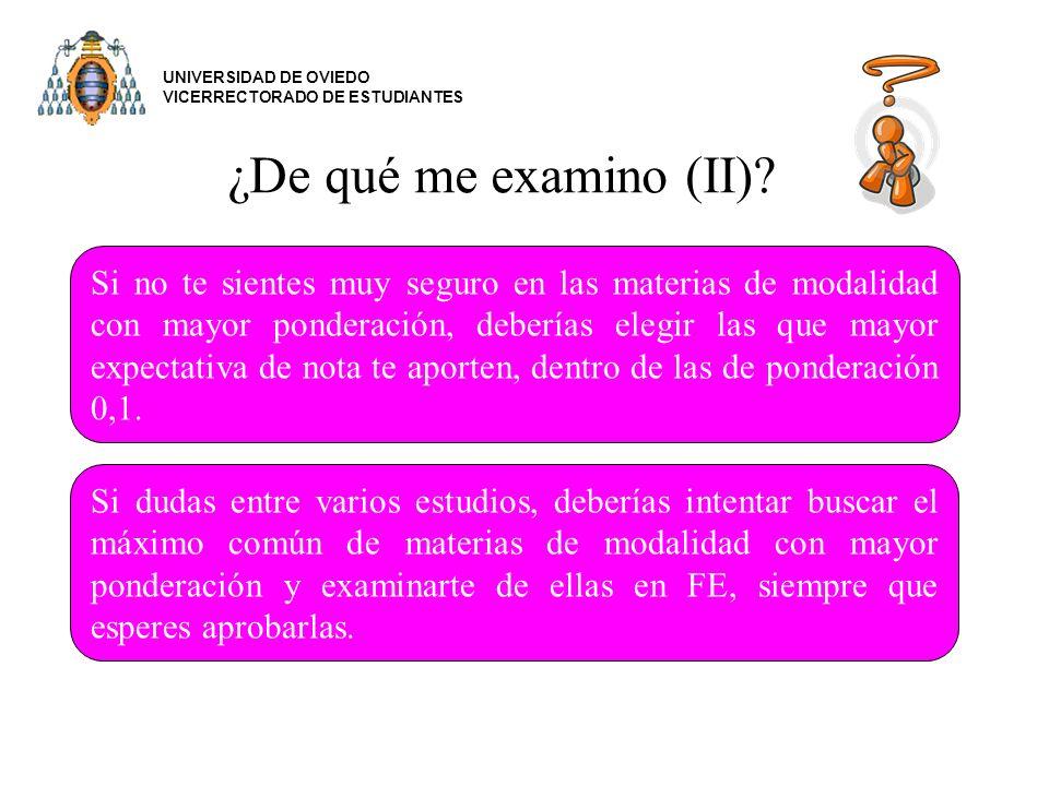 UNIVERSIDAD DE OVIEDO VICERRECTORADO DE ESTUDIANTES. ¿De qué me examino (II)
