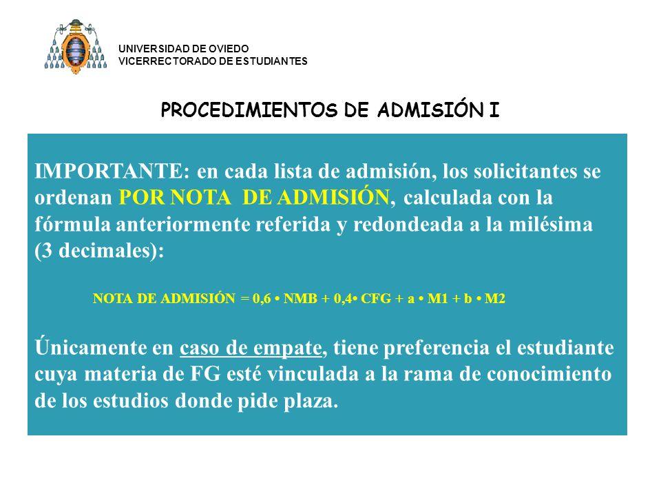 PROCEDIMIENTOS DE ADMISIÓN I