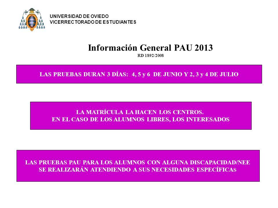 Información General PAU 2013