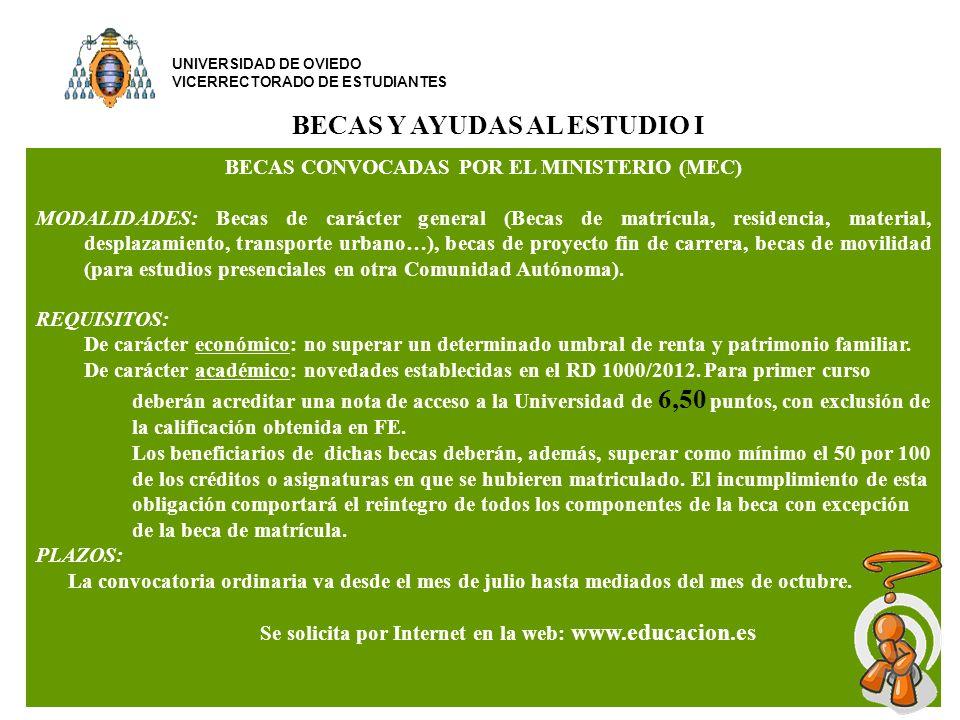 BECAS Y AYUDAS AL ESTUDIO I BECAS CONVOCADAS POR EL MINISTERIO (MEC)