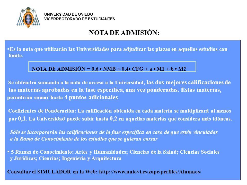 UNIVERSIDAD DE OVIEDO VICERRECTORADO DE ESTUDIANTES. NOTA DE ADMISIÓN: