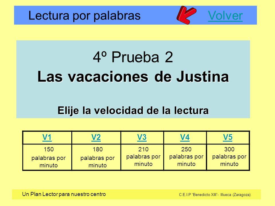 4º Prueba 2 Las vacaciones de Justina Elije la velocidad de la lectura