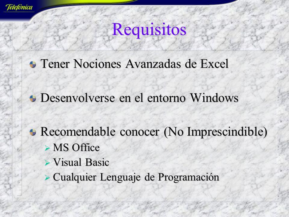 Requisitos Tener Nociones Avanzadas de Excel
