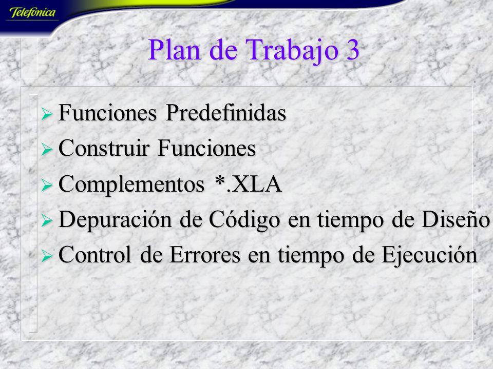 Plan de Trabajo 3 Funciones Predefinidas Construir Funciones