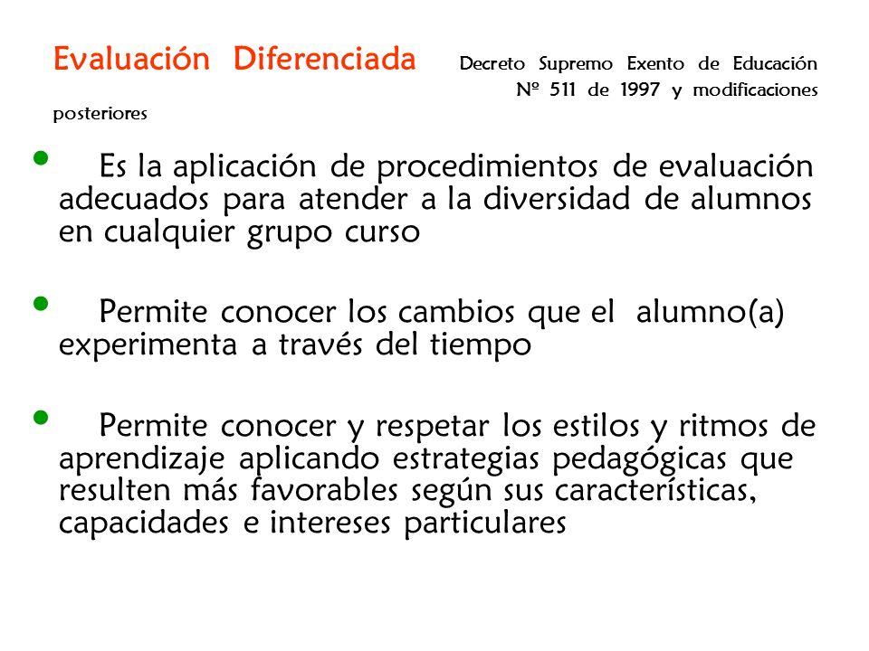 Evaluación Diferenciada Decreto Supremo Exento de Educación