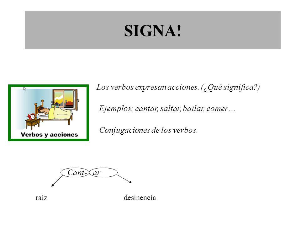 Los verbos expresan acciones. (¿Qué significa )