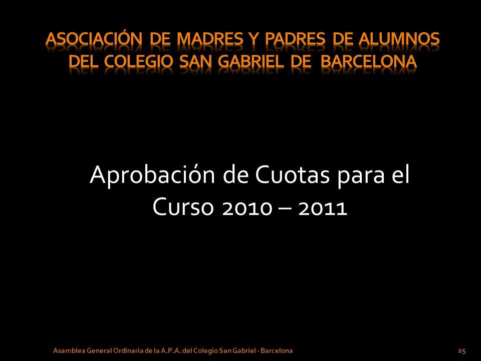 Aprobación de Cuotas para el Curso 2010 – 2011