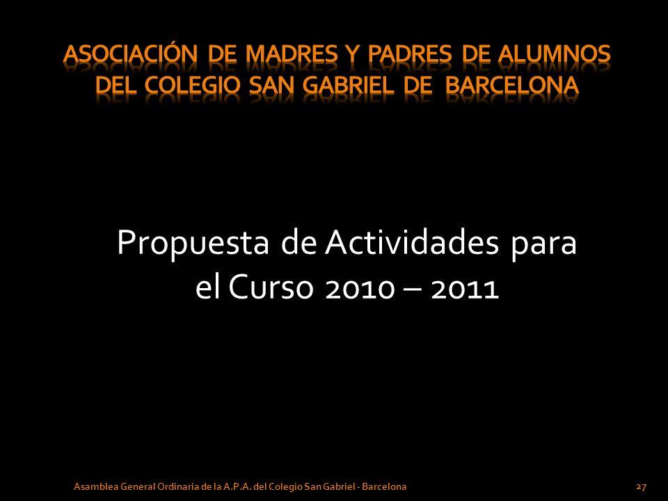 Propuesta de Actividades para el Curso 2010 – 2011