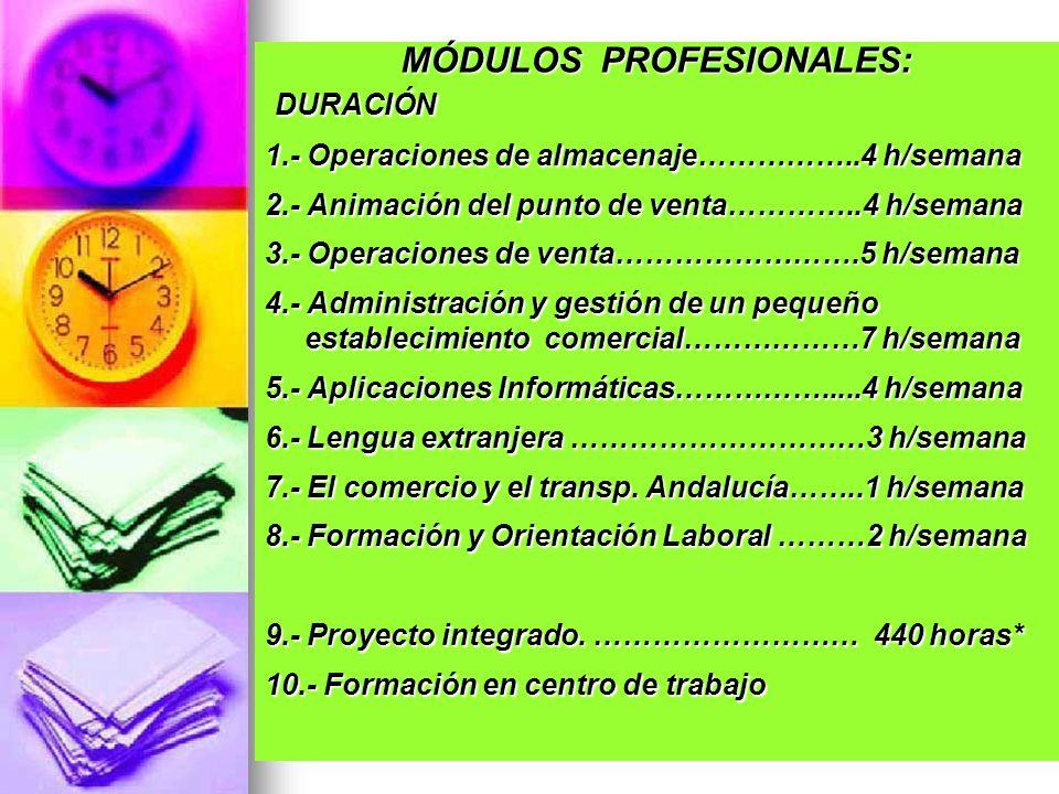 MÓDULOS PROFESIONALES: