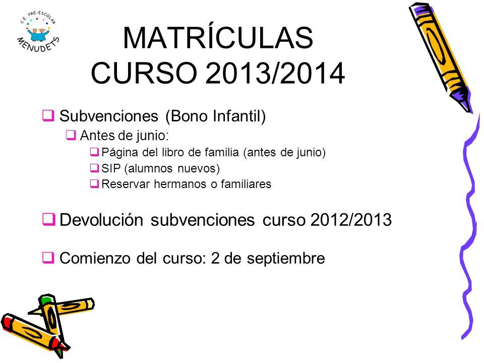 MATRÍCULAS CURSO 2013/2014 Devolución subvenciones curso 2012/2013
