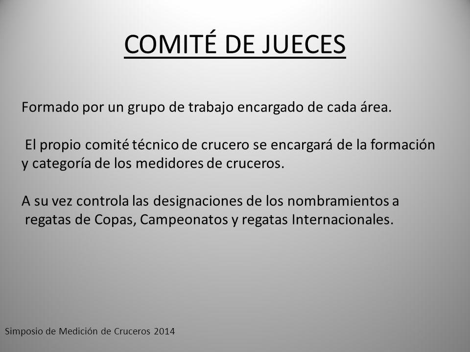 COMITÉ DE JUECES Formado por un grupo de trabajo encargado de cada área. El propio comité técnico de crucero se encargará de la formación.