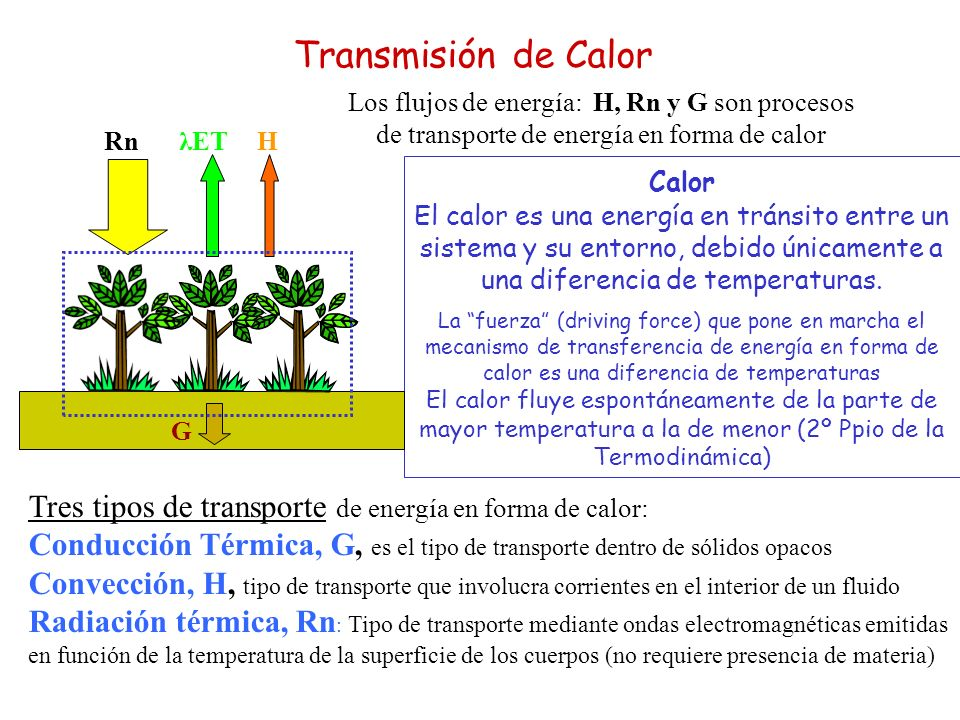 Transmisión de Calor Los flujos de energía: H, Rn y G son procesos de transporte de energía en forma de calor.