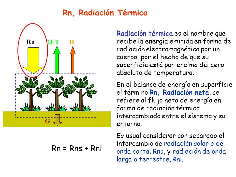 Rn, Radiación Térmica Rn = Rns + Rnl