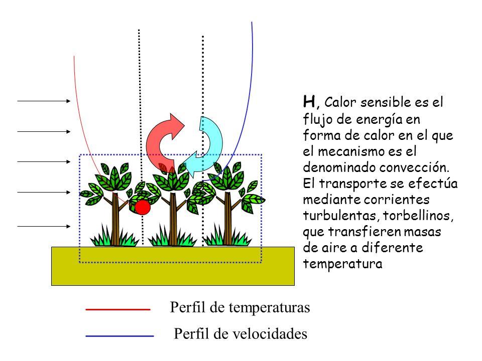 H, Calor sensible es el flujo de energía en forma de calor en el que el mecanismo es el denominado convección. El transporte se efectúa mediante corrientes turbulentas, torbellinos, que transfieren masas de aire a diferente temperatura