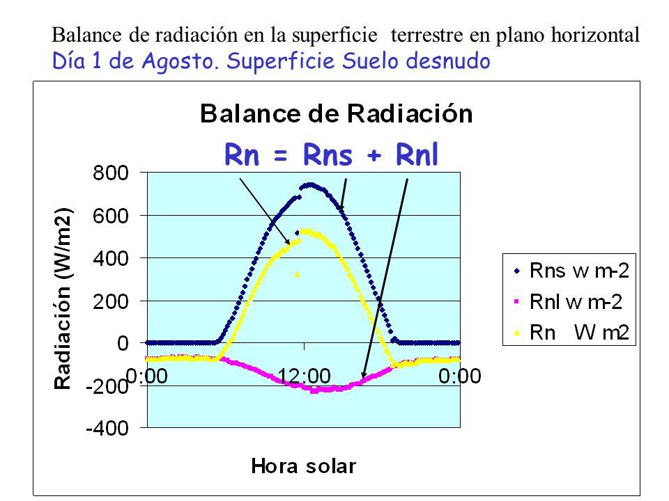 Balance de radiación en la superficie terrestre en plano horizontal Día 1 de Agosto. Superficie Suelo desnudo