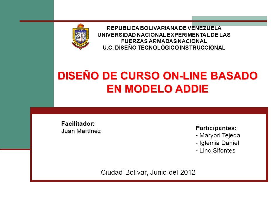 DISEÑO DE CURSO ON-LINE BASADO EN MODELO ADDIE