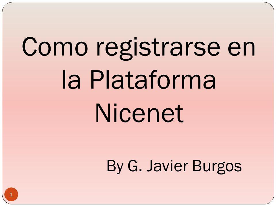 Como registrarse en la Plataforma Nicenet