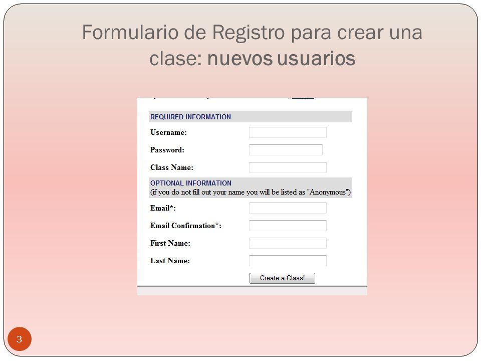 Formulario de Registro para crear una clase: nuevos usuarios
