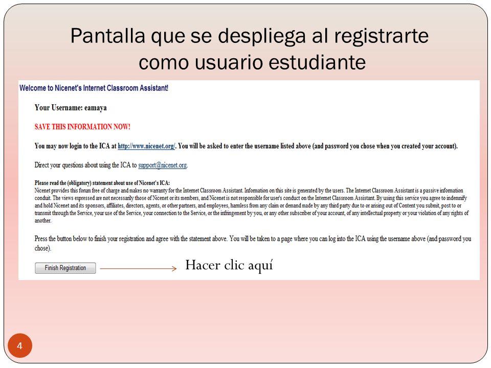 Pantalla que se despliega al registrarte como usuario estudiante