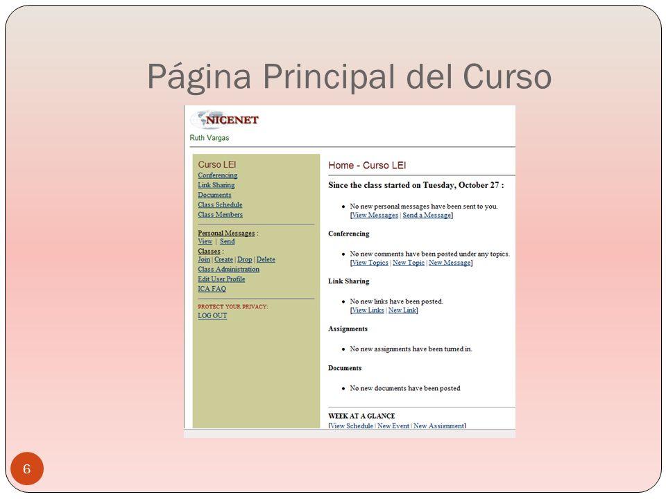 Página Principal del Curso