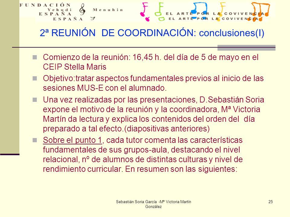 2ª REUNIÓN DE COORDINACIÓN: conclusiones(I)
