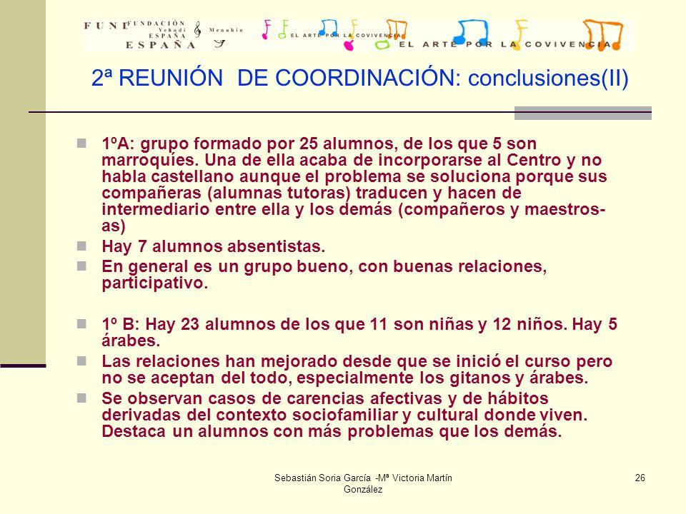 2ª REUNIÓN DE COORDINACIÓN: conclusiones(II)
