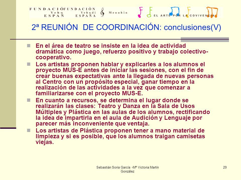 2ª REUNIÓN DE COORDINACIÓN: conclusiones(V)