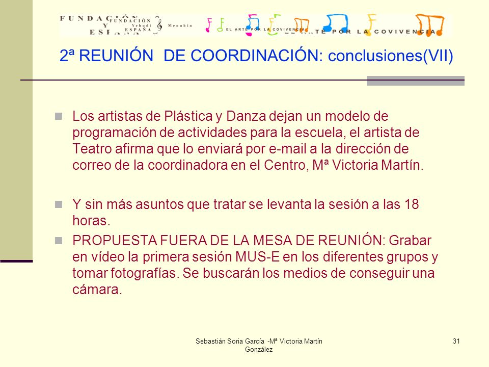 2ª REUNIÓN DE COORDINACIÓN: conclusiones(VII)