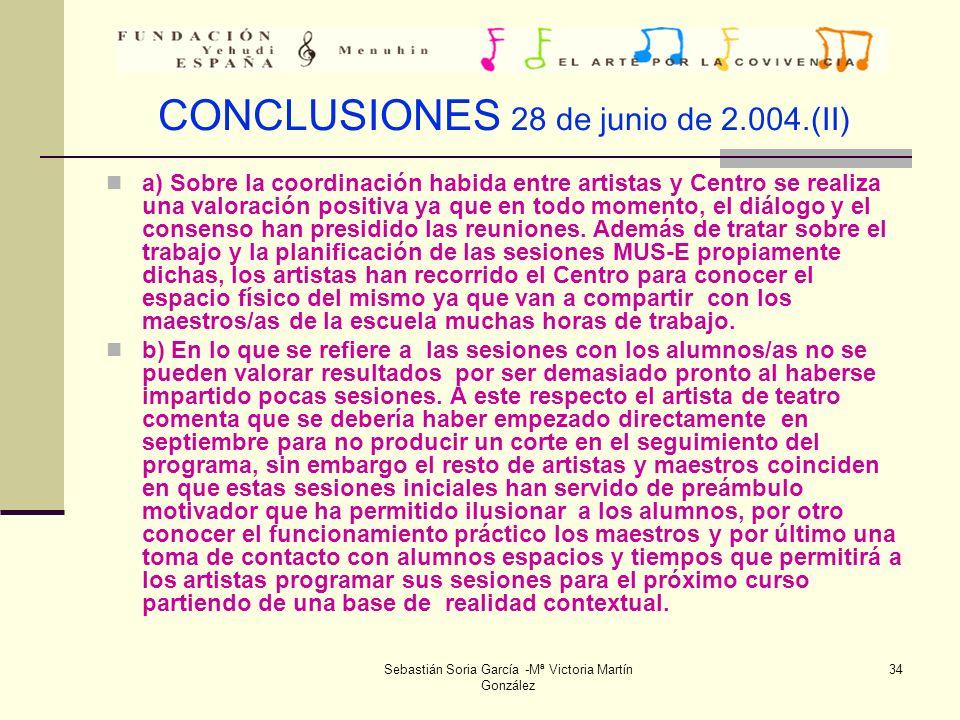 CONCLUSIONES 28 de junio de 2.004.(II)