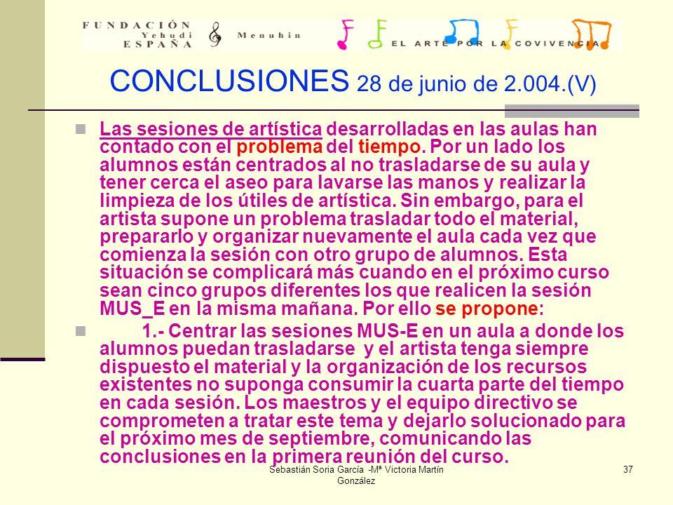 CONCLUSIONES 28 de junio de 2.004.(V)