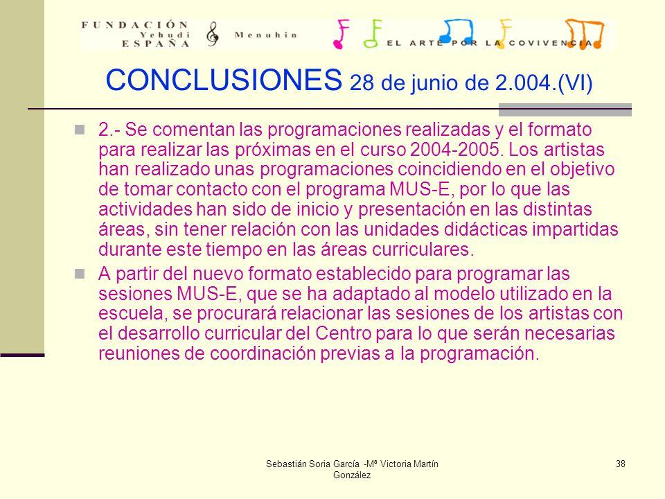 CONCLUSIONES 28 de junio de 2.004.(VI)