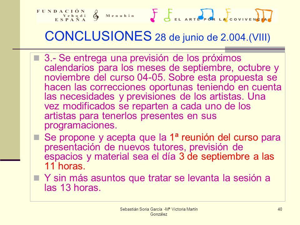 CONCLUSIONES 28 de junio de 2.004.(VIII)