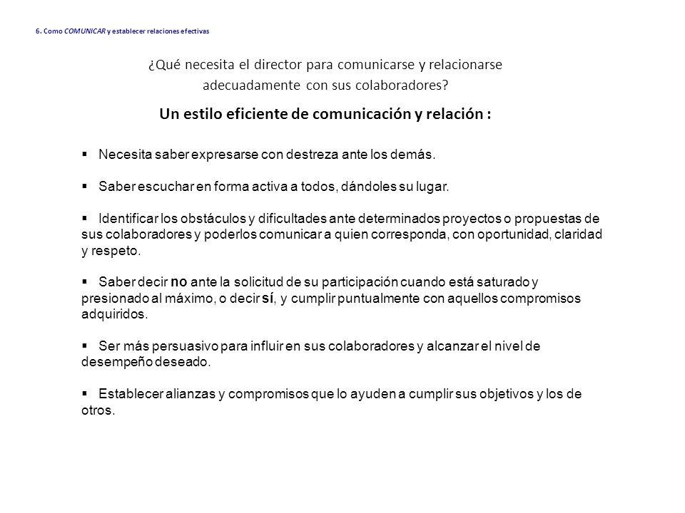 Un estilo eficiente de comunicación y relación :