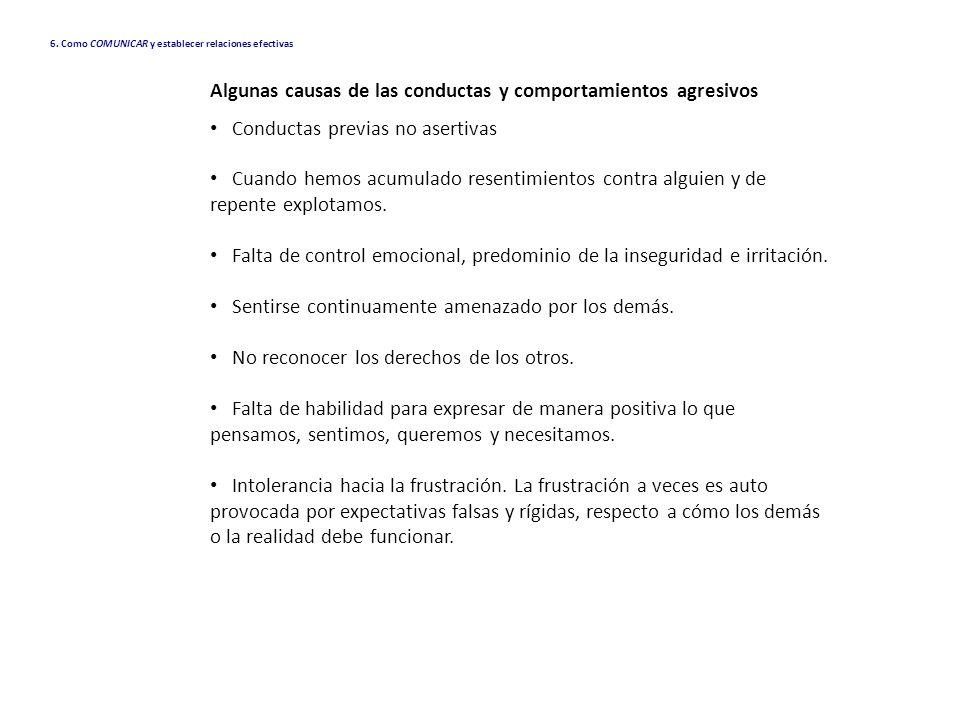 Algunas causas de las conductas y comportamientos agresivos