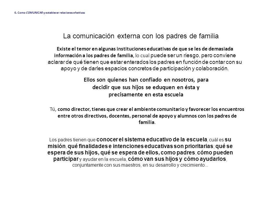 La comunicación externa con los padres de familia