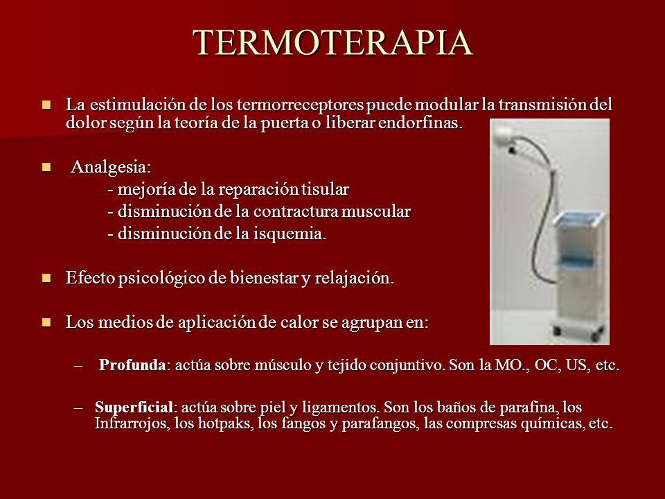 TERMOTERAPIA La estimulación de los termorreceptores puede modular la transmisión del dolor según la teoría de la puerta o liberar endorfinas.